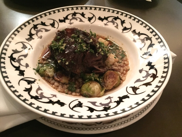 Beer Braised Beef Cheeks - celeriac and barley stew, roasted sprouts, fresh horseradish