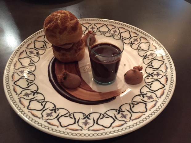 Roasted Hazelnut Profiterole - chocolat chaud and chantilly
