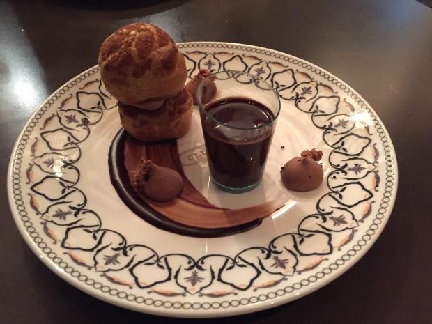 Roasted Hazelnut Profiterole - chocolat chaud and chantilly